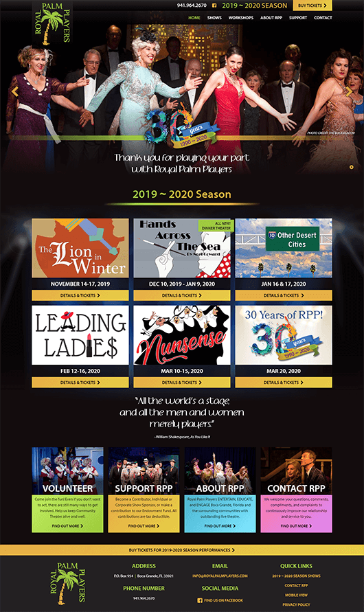 Royal Palm Players website design