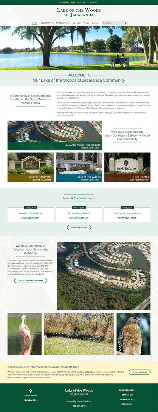Lake of the Woods of Jacaranda website design