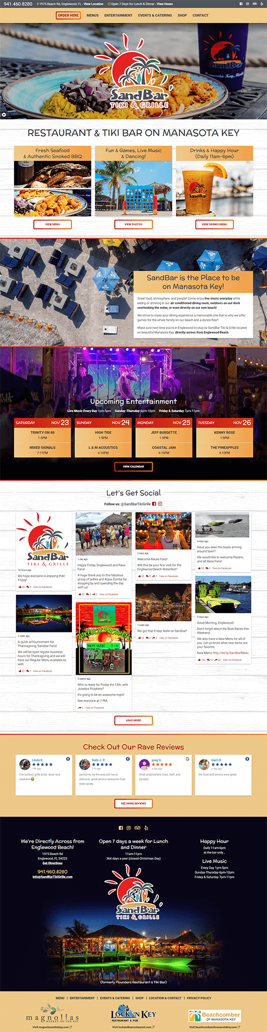 SandBar Tiki & Grille website design